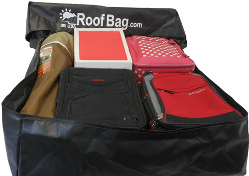 RoofBag Rooftop Carrier 15 cu ft with suitcases