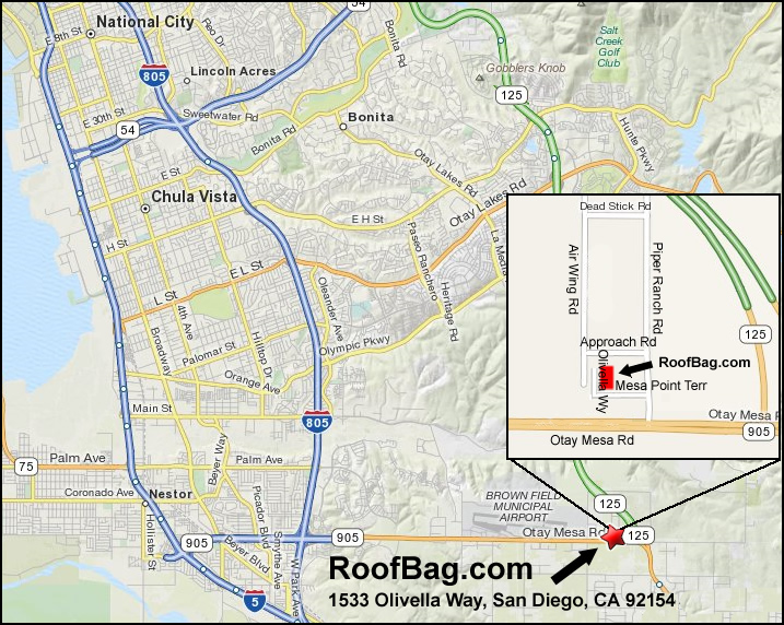 Map RoofBag.com San Diego