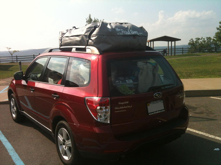 Soft Car Top Carrier Review - Subaru Forester with RoofBag Cartop Luggage Carrier